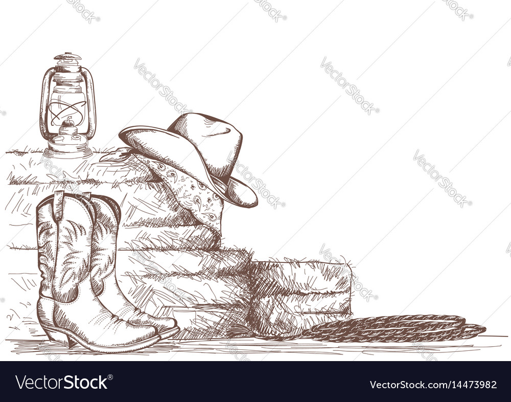 Uncategorized Draw Boots hand draw cowboy background with western boots vector image image