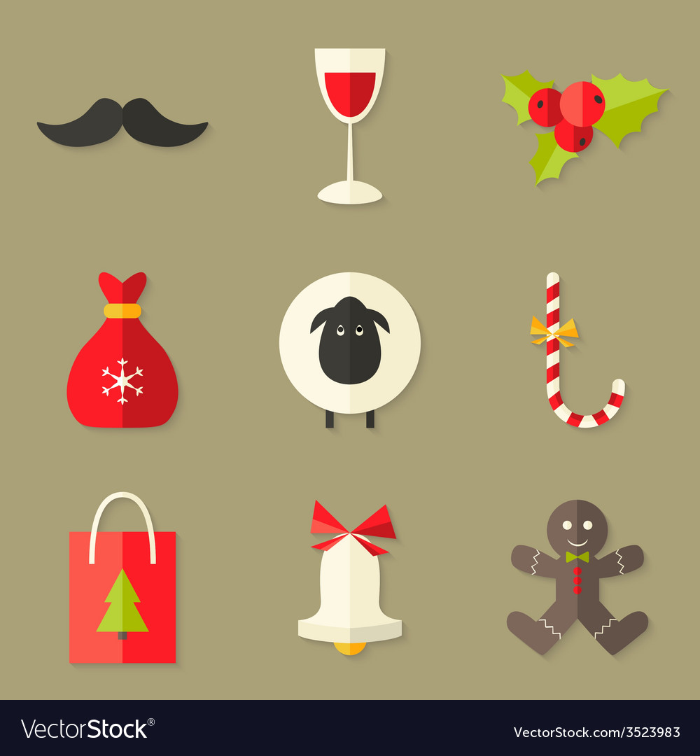 9 Christmas Icons Set 2 vector image