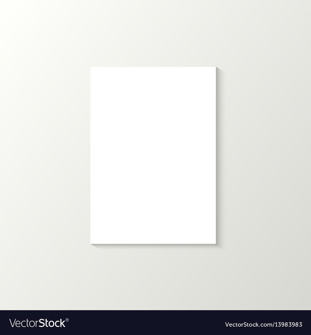 Grey wallpaper with white blank vertical poster vector image