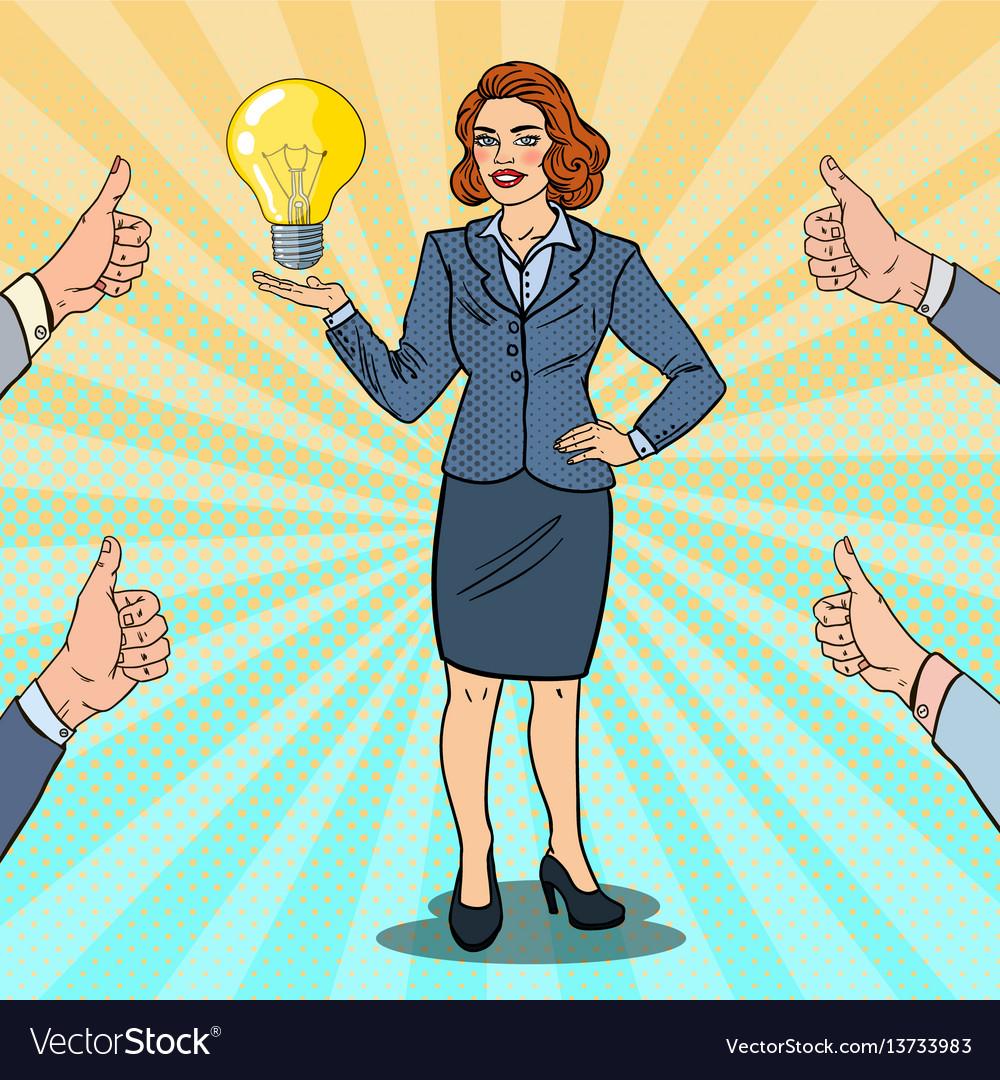 Pop art happy business woman with creative idea vector image