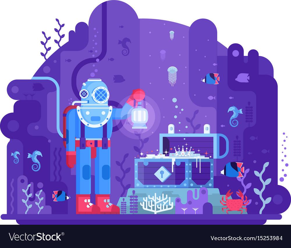 Deep diver find sea treasures vector image