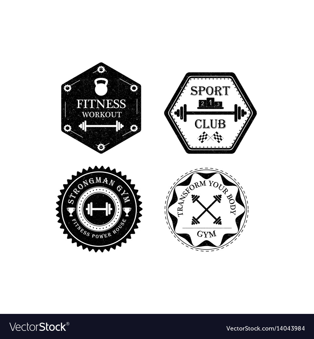 Set of gym and fitness logo vector image