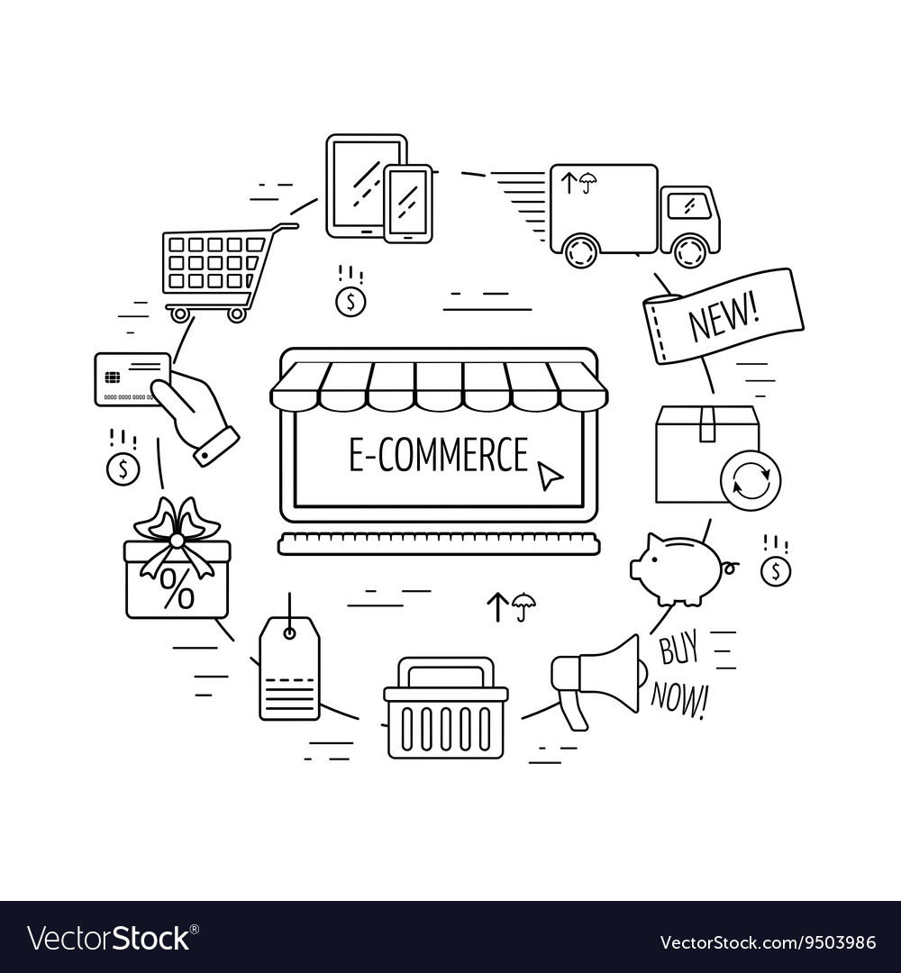 E-commerce line concept Line icons for business vector image