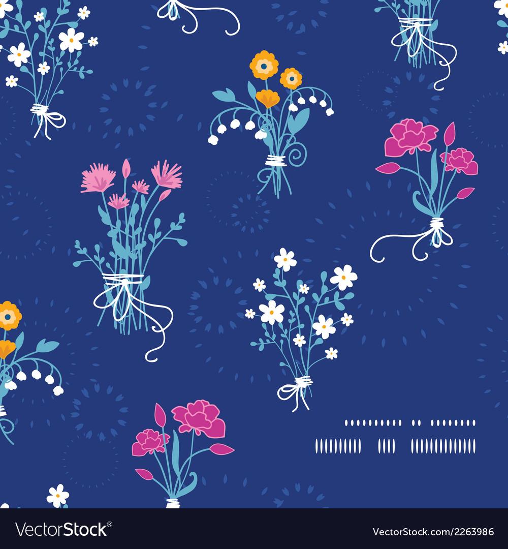 Fresh flower bouquets frame corner pattern vector image