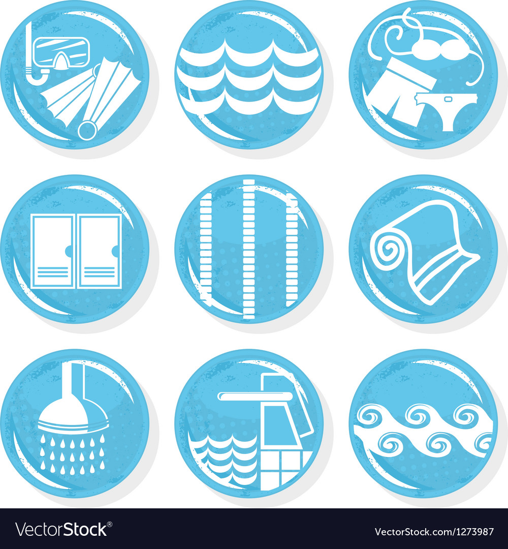 Spa swimming pool icons vector image