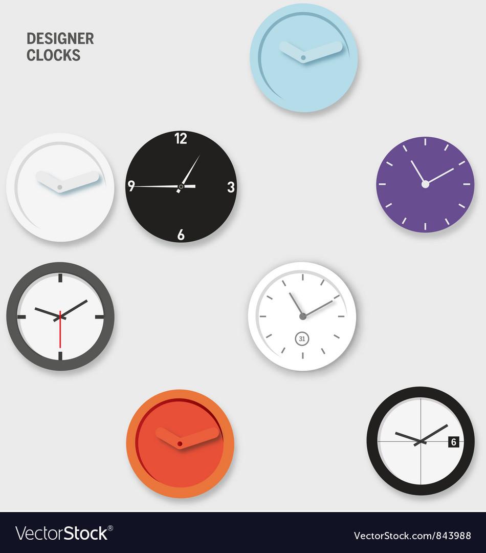 Designer Wall Clocks Vector Image
