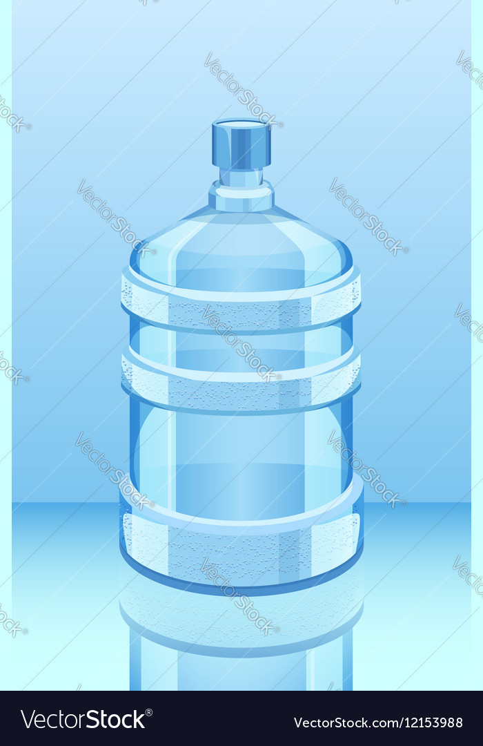 Cooler water bottle reflected on blue vector image