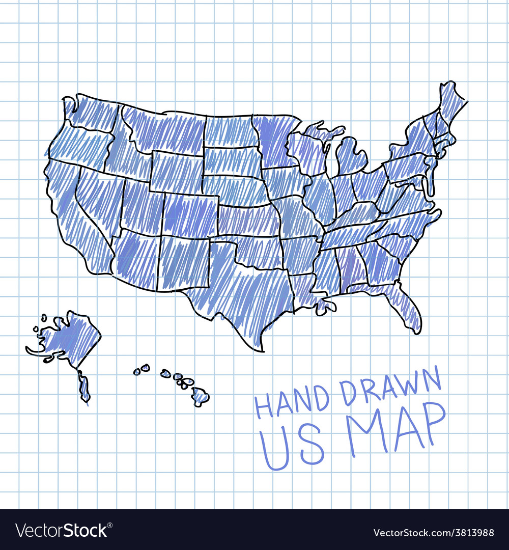Pen Drawn USA Map On Lined Paper Royalty Free Vector Image - Usa map design