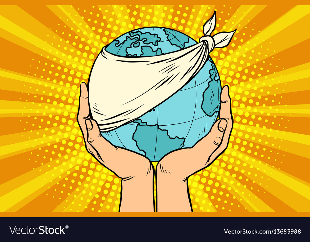 Sick planet earth ecology and nature vector image