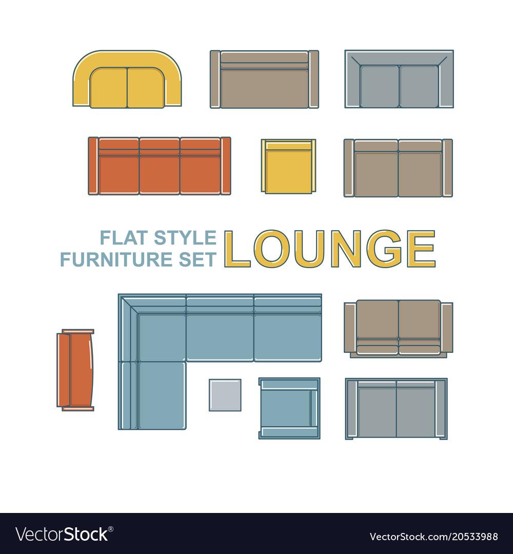 Sofas Furniture Set Royalty Free Vector Image Vectorstock