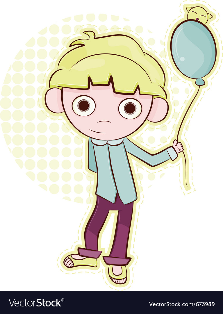 Friendly little boy with balloon vector image