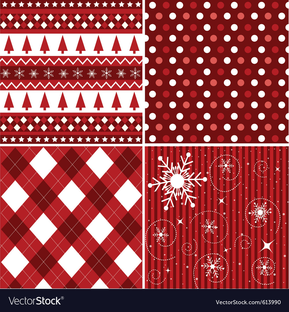 Seamless patterns with christmas texture vector image