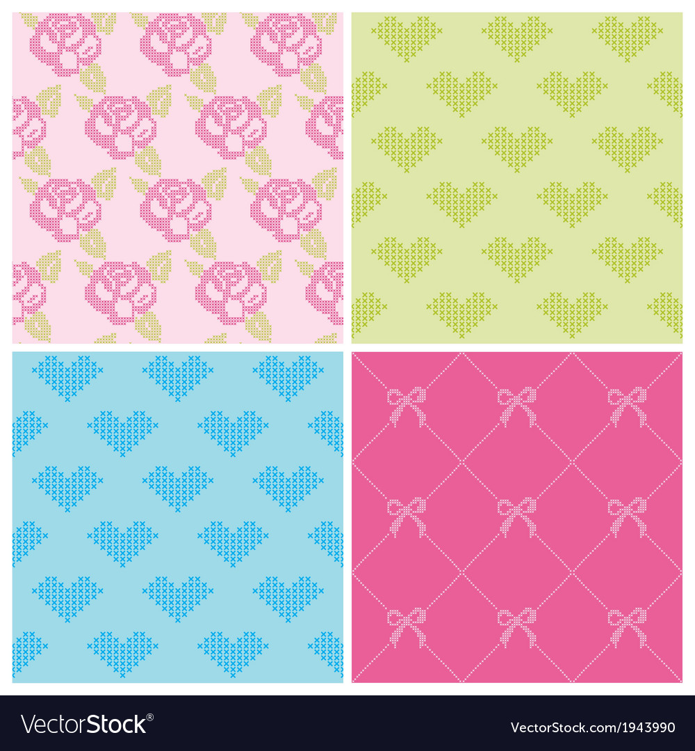Set of Backgrounds - Stitch Roses and Hearts vector image