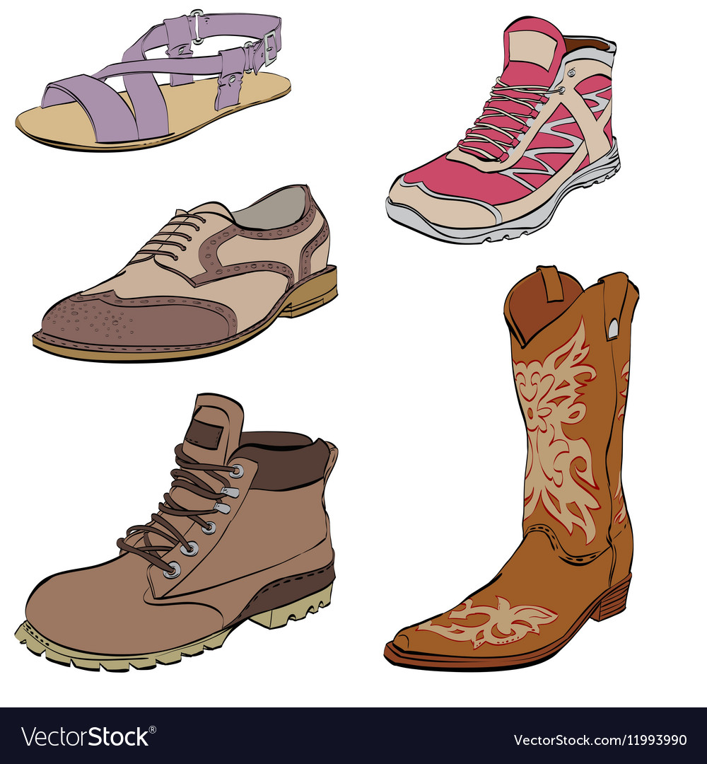 Set of mens shoes sneakers dress boots and vector image
