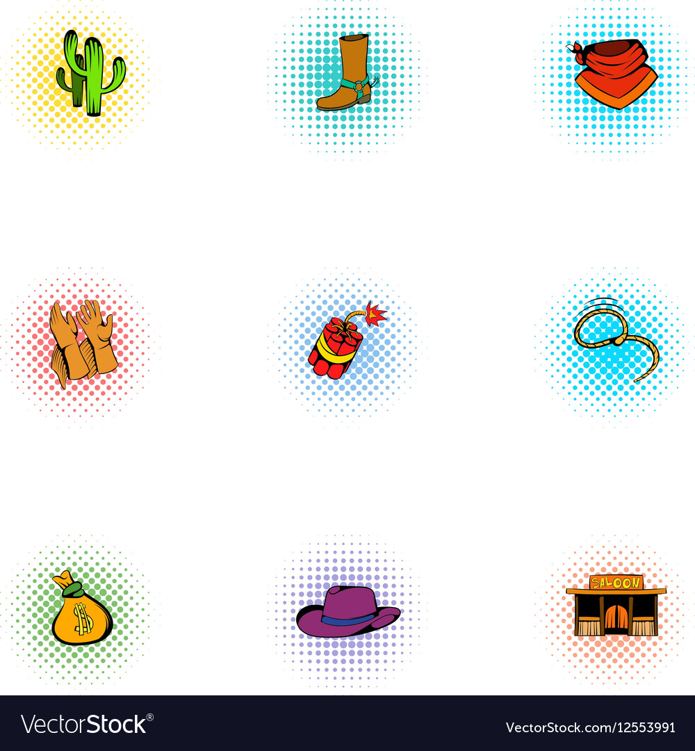 Cowboys of Wild West icons set pop-art style vector image