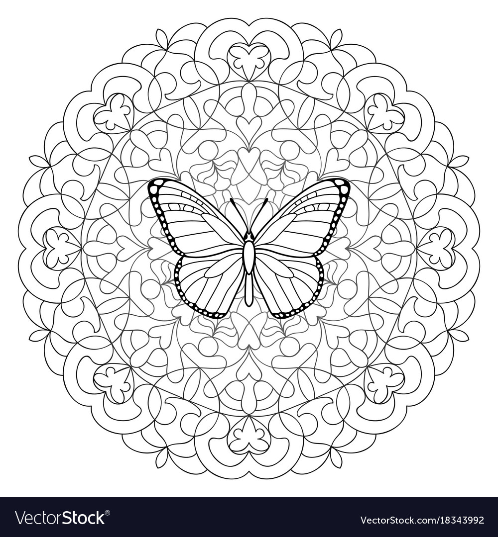 Butterfly mandala coloring page Royalty Free Vector Image