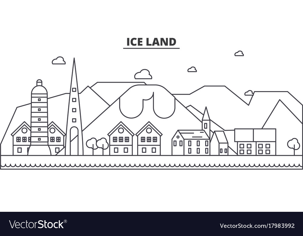 Iceland architecture line skyline vector image
