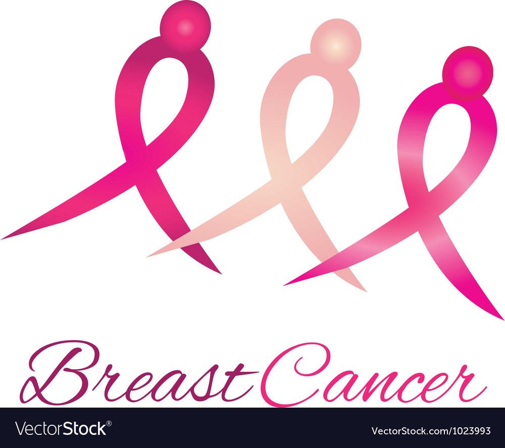 Breast cancer logo awareness ribbons vector image