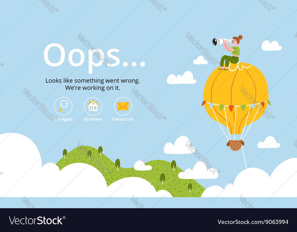 Oops error page with hot air balloon vector image