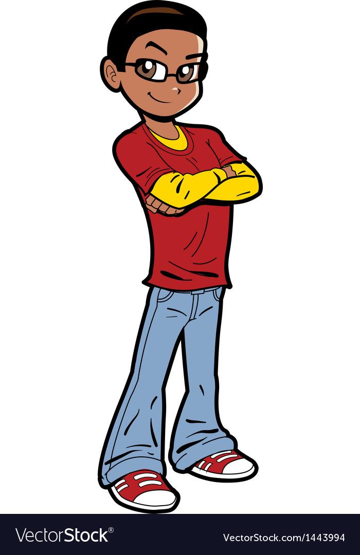 Handsome Black Teen vector image