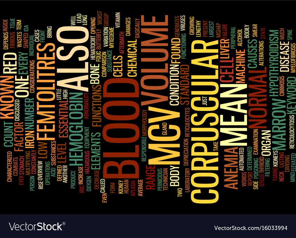Mean corpuscular volume text background word vector image