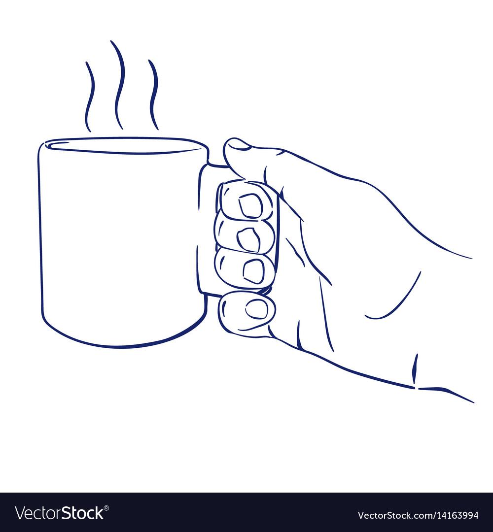 Mug with hot tea in hand vector image