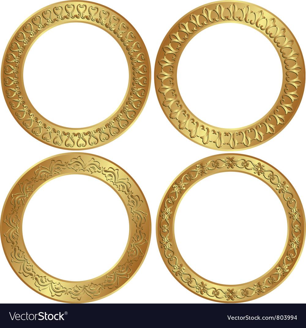 Round golden frame vector image