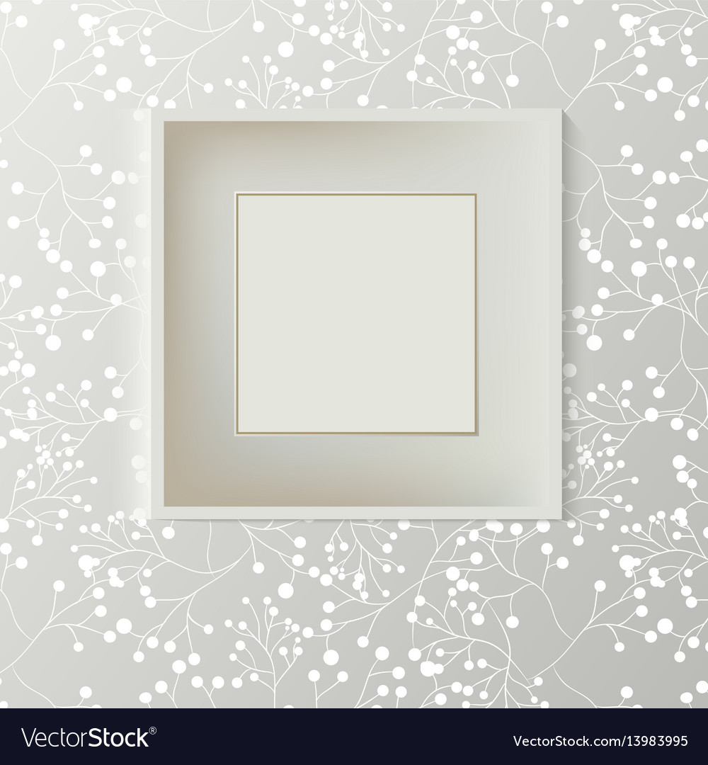 Printed grey wallpaper with empty frame for vector image