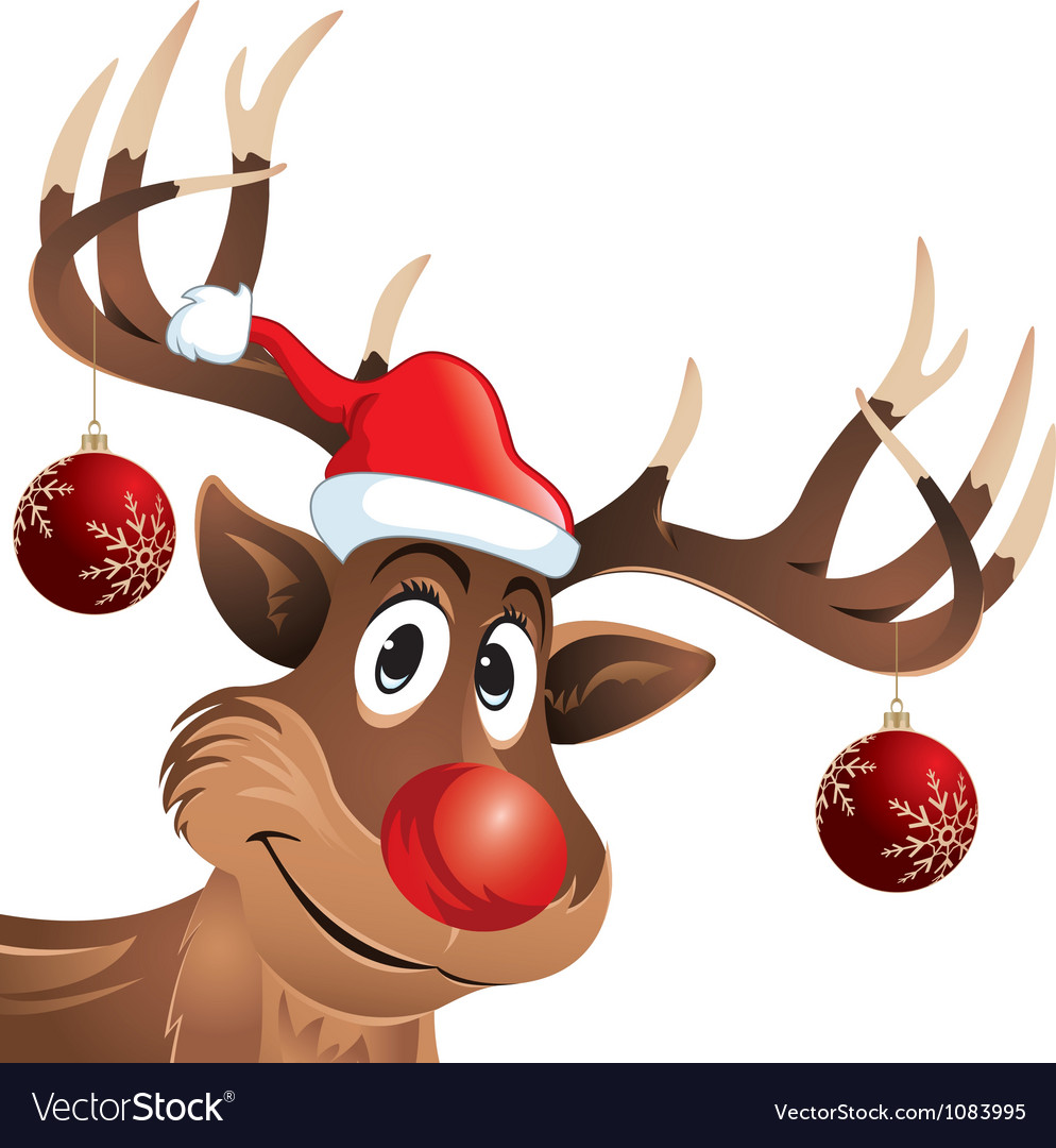 Rudolph the reindeer red nose with Christmas Balls