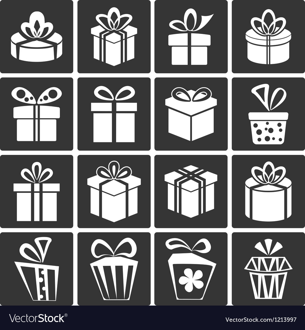 Gift Box Icons vector image
