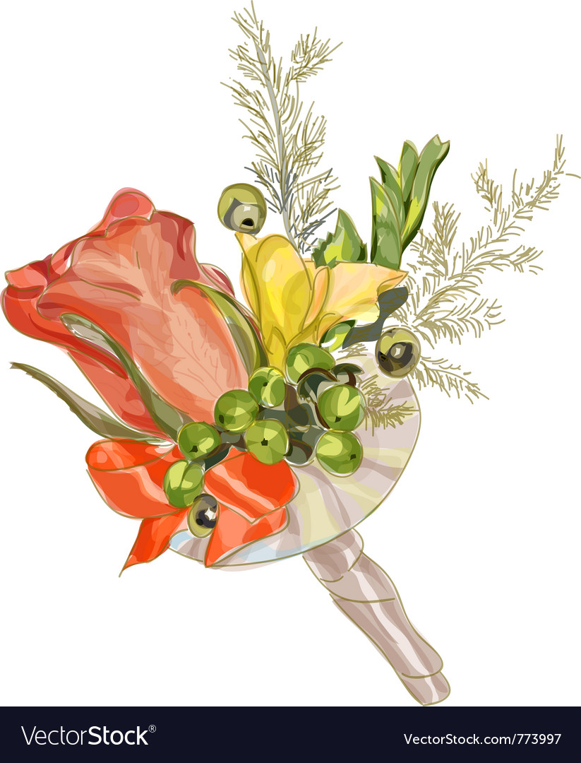 Watercolor Wedding Flowers Royalty Free Vector Image