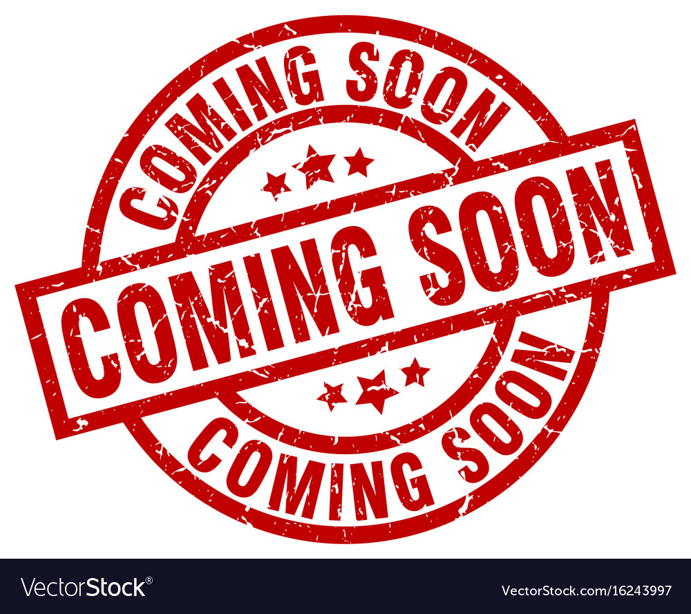 Coming soon round red grunge stamp vector image