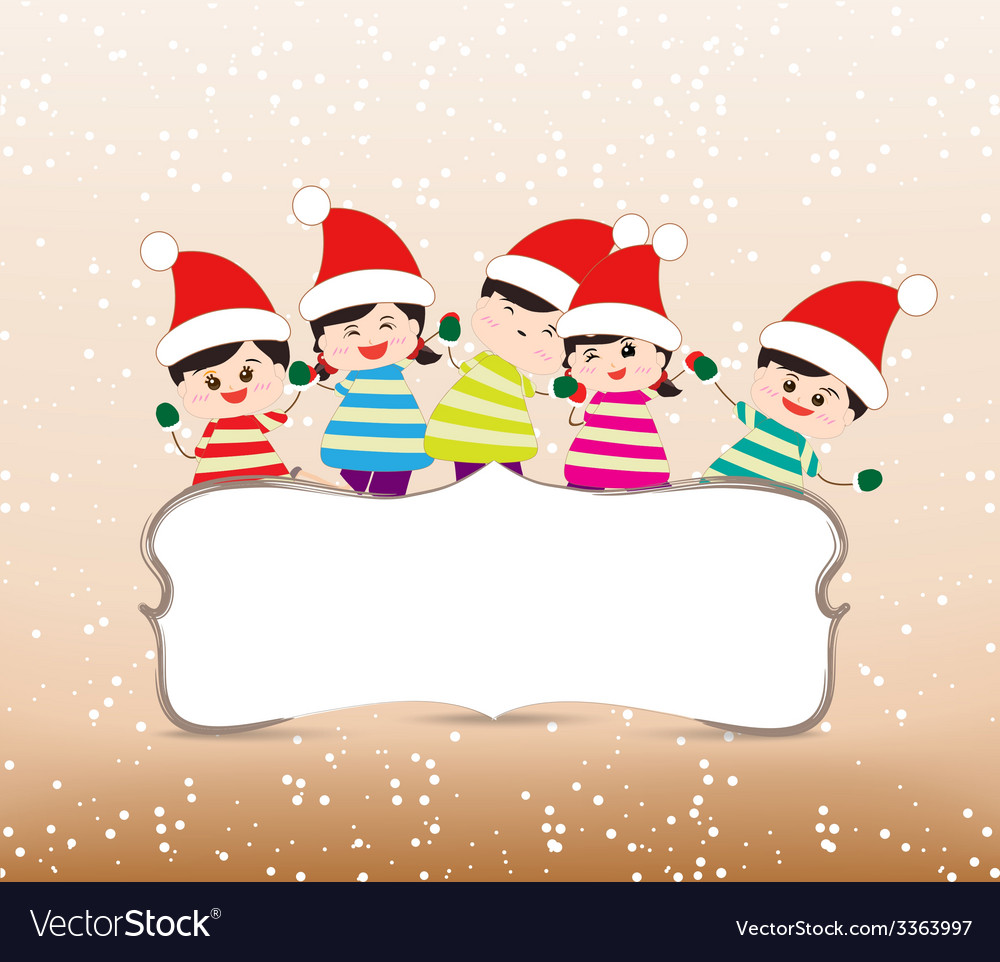 Happy christmas banner with kids vector image