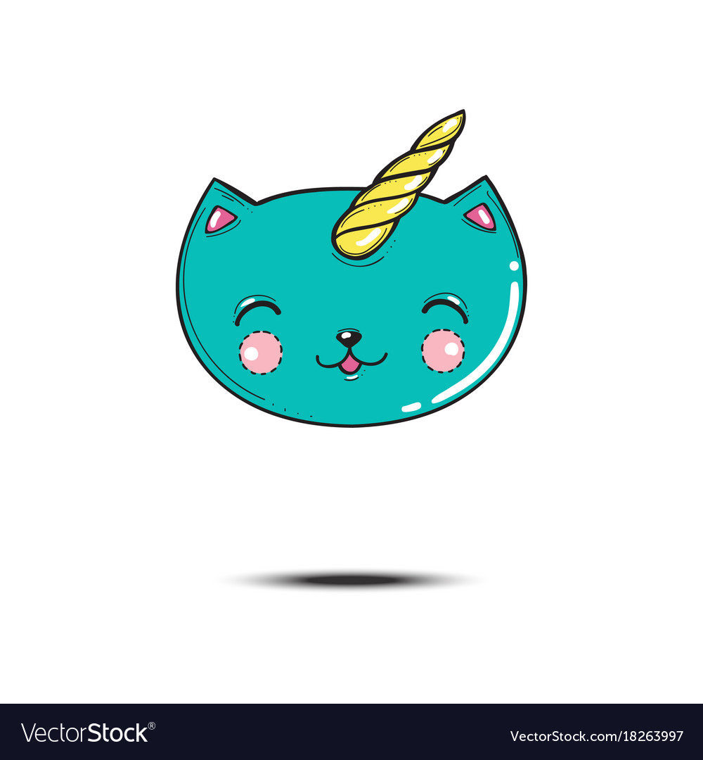 Satisfied cartoon blue cat head unicorn isolated vector image