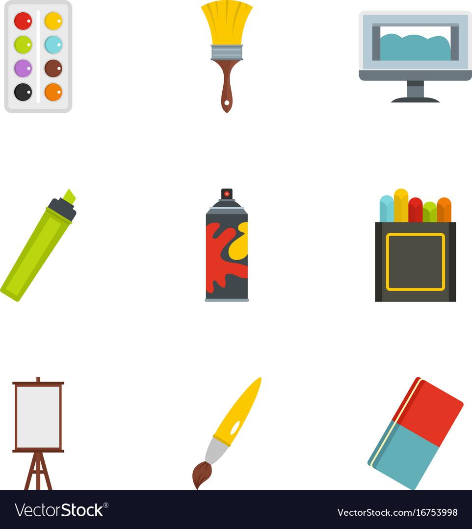 Art instruments icons set flat style vector image