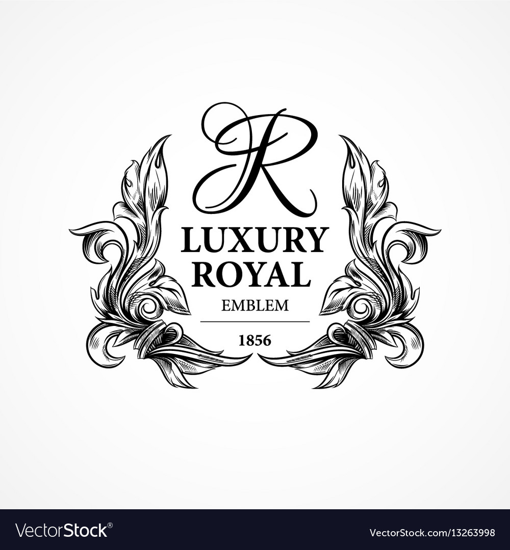 Luxury decorative ornament floral design logo vector image