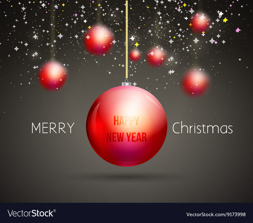 Merry Christmas Happy New Year trendy red gold vector image