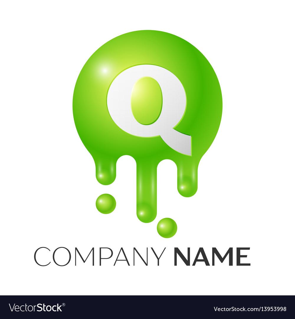 Q letter splash green dots and bubbles letter vector image