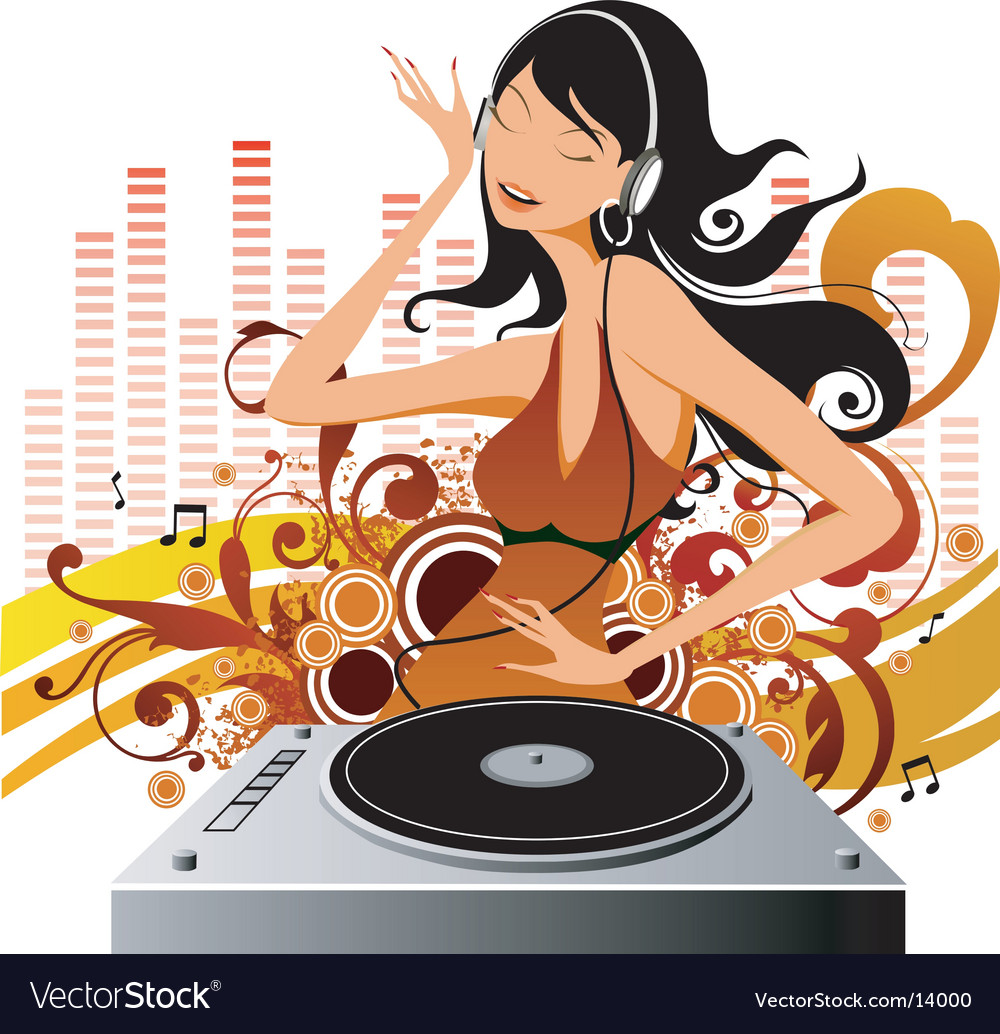 Fashion model Dj vector image