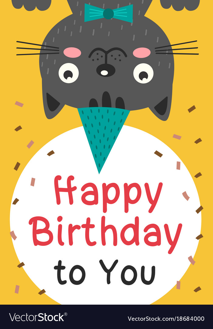 Happy birthday card with black cat royalty free vector image happy birthday card with black cat vector image bookmarktalkfo Choice Image