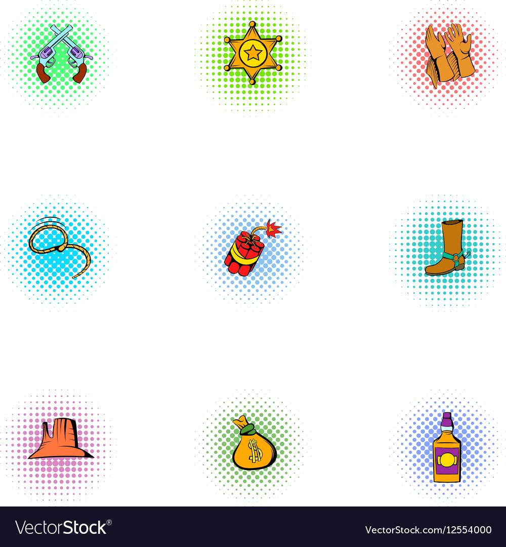 Wild West of America icons set pop-art style vector image