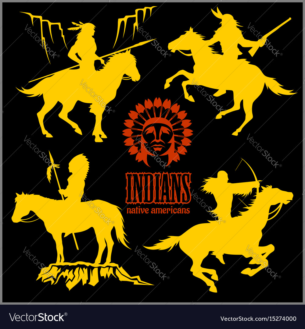 Wild west silhouettes native american warriors vector image buycottarizona Images