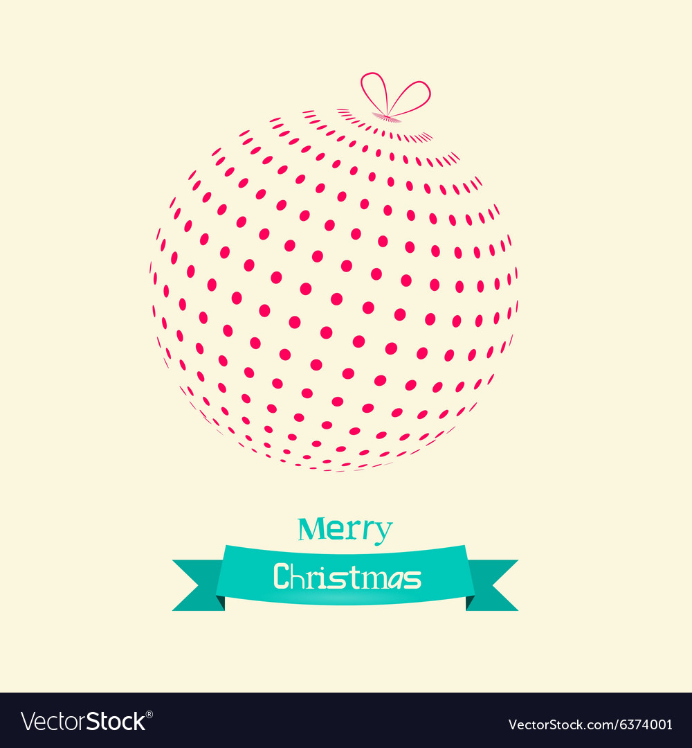 Christmas Ball Retro Card vector image
