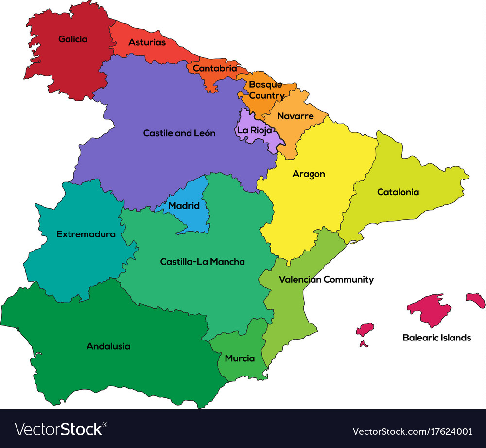 Spain Regions Royalty Free Vector Image VectorStock - Spain regions map
