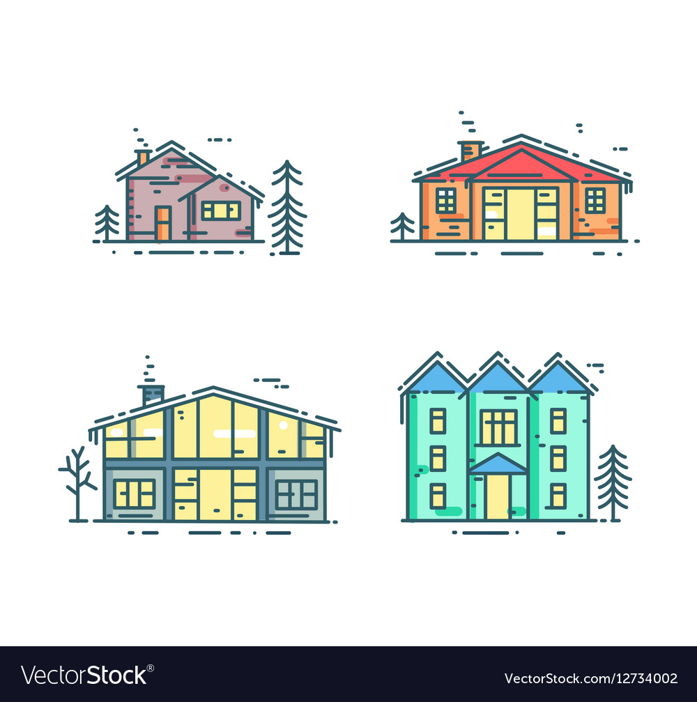 Colorful line houses icon set vector image