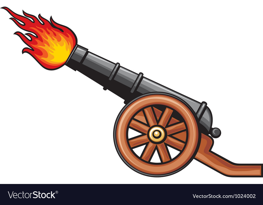 Old artillery cannon vector image