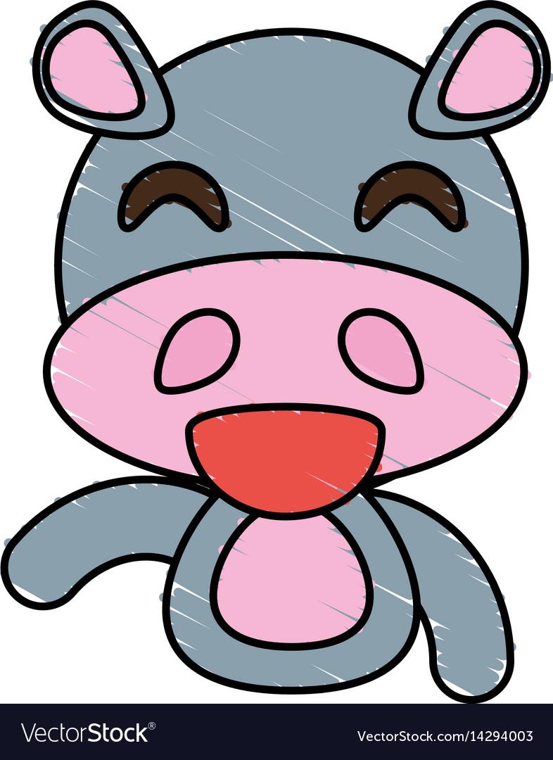 Draw hippo animal comic vector image