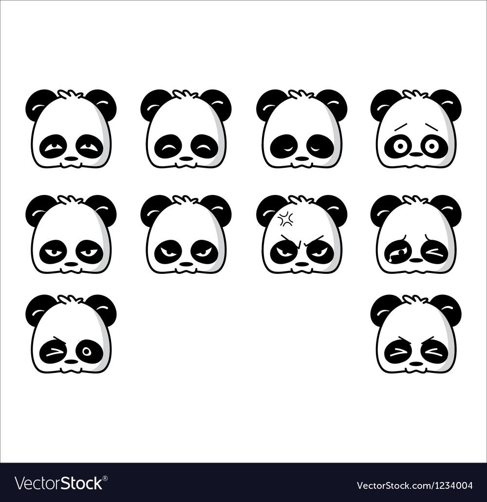 Emoticon panda regular vector image