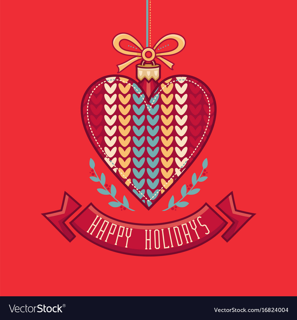 Happy Holidays Greeting Card In Heart Form Vector Image