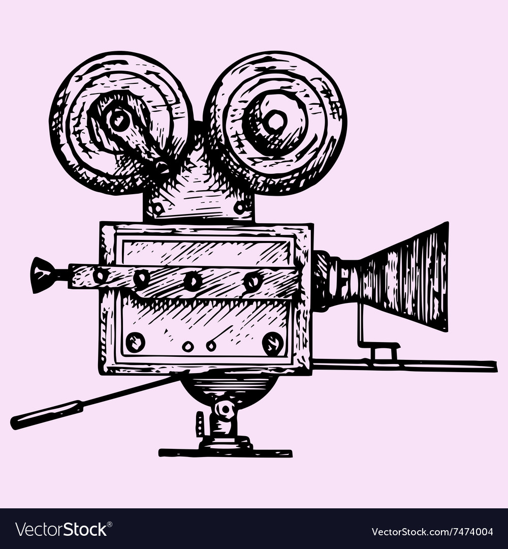 Retro movie camera vector image